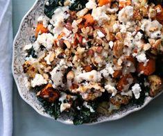 Roasted+Cauliflower+++Squash+with+Kale+++Tahini+Dressing