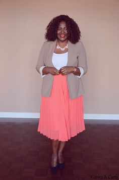 How to wear a pleated skirt to work, Trendy plus size fashion for women , curvy fashion, pleated skirt