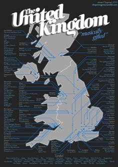 Top UK bands and which city they came from.