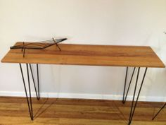 Vintage Industrial Timber Sideboard Hall Console Table Hairpin Legs by Kurrlson