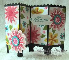 Flower patch screen card, SU cards, July 2014 FMN class, by Wendy Lee, #creativeleeyours, Stampin Up!,