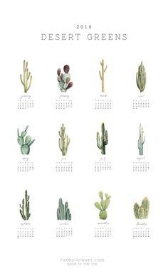 2018 Desert Greens Cactus Art Calendar by Fox Hollow Studios  #2018planner #wallplanner #planner #wallart #calendar #giftsforher #giftguide #giftshop #2018 #sparkfold