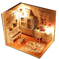 Poppenhuis Speeltjes DHZ LED verlichting voortreffelijk Handgemaakt Meubilair Huis Hout 1 Stuks Kinderen Verjaardag Kinderdag Geschenk