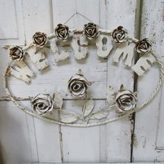 Metal toleware style rose welcome sign large shabby chic hand cut rusty hand painted white wall hanging home decor anita spero