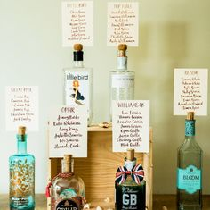 Unique Wedding table plan with Gin as the inspiration Wedding Table Layouts, Wedding Table Centres, Wedding Table Seating, Wedding Table Names, Wedding Table Centerpieces, Wedding Decorations, Centrepieces, Wedding Table Plans, Table Centre Pieces Wedding