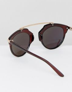 288e22fbc5 ASOS Half Round Sunglasses In Marble Tort and Blue Flash Flat Lens ...