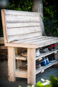 Beautiful custom made shoe rack bench. Made from reclaimed wood and hand stained, this shoe rack is perfect for any entry way. Give your guests a beautiful bench to sit down on while they remove their shoes. Shoe racks are tucked below the bench so that your shoes are hidden away from view. Custom hand staining in antique white and kona brown, but can be ordered in colors to match your home.  Dimensions: 44W x 36H x 18D Can be made to order in any size (may change price)  Shipping costs…