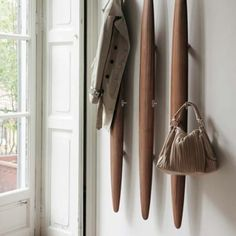 Salvadè Willk Coat Rack - Wall clothes stand made of solid canaletta walnut and metal hooks. European Furniture, Italian Furniture, Contemporary Furniture, Coat Hanger, Wall Hanger, Coat Racks, Wall Hooks, Hangers, Decorative Accessories