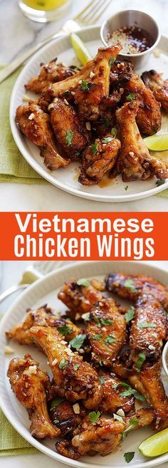 Vietnamese Chicken Wings - sticky sweet chicken wings recipe with fish sauce, garlic and sugar marinade. These oven baked chicken wings are delicious! Best Chicken Wing Recipe, Baked Chicken Wings, Chicken Wing Recipes, Fried Chicken, Chinese Chicken Wings, Marinated Chicken Wings, Chicken Ideas, Vietnamese Chicken Wing Recipe, Fish Sauce Vietnamese