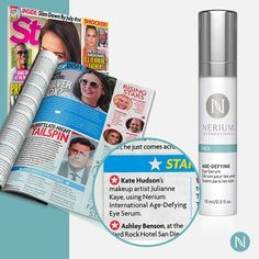 Nerium Eye Serum is a pick for Kate Hudson's makeup artist! Wow! TaylorMJones.nerium.com to get yours!