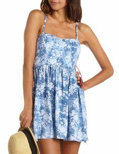 Crisscross Back Floral Skater Dress: Charlotte Russe