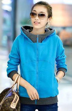 Women Long Sleeve Hood Splicing Blue Cotton Hoodies One Size @FZ9793bl