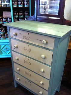 Up-cycled Furniture: This antique dresser was chalk painted using the van Gogh Fossil Paint Collection. Colors: Patina and Cashmere and a blend of Natural and French Caffine Waxes.