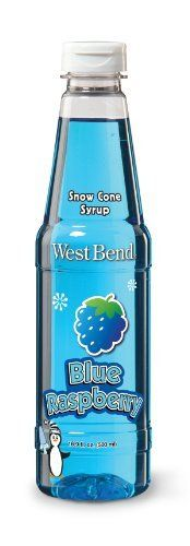 West Bend Raspberry Syrup, Blue by Focus Electrics, LLC. $9.66. Flip top cap with inner seal. 16.9-Ounce for approximately 8 servings. Slim easy to handle bottle. Syrup for flavoring a variety of ice treats. Use with west bend ice shavers. A convenient way to flavor snow cones, slushies, ice pops and more, syrup bottle features a flip top cap with inner seal, bottle holds 16.9-ounce, enough for approximately 8 servings.