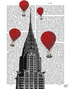 Chrysler Building and Vintage Hot Air Balloons Art by FabFunky, $15.00