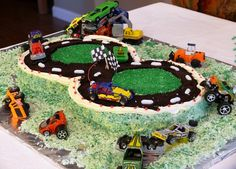 Cub Scout pinewood derby race cake
