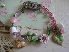 A Shabby Chic Valentines .vintage assemblage jewelry old ooak bracelet