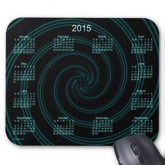 2015 Calendar Teal Spiral Mouse Pad Custom Design from Calendars by Janz