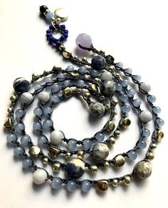 Blue sodalite crochet beaded wrap bracelet fall fashion boho