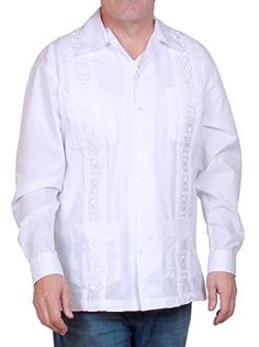 d4aeef17a19 Shop Cuban Style Guayabera Shirt- Long Sleeve- White - and Discover the  latest fashion and trends in Men s Shirts at Affordable Price.