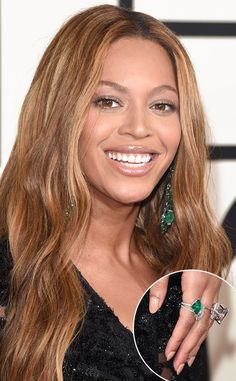 Beyoncé's $10 Million Emerald Jewelry, Taylor Swift's $1 Million Opal Baubles & More Insane Bling at the 2015 Grammys!  Beyonce, Grammy Awards, Jewelry