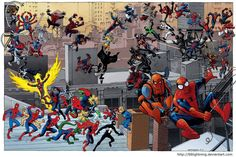 All the different spider-man suits and different versions of Spidey.
