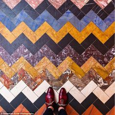 Works of art: German photographer, Sebastian Erras, captures some of the world's most beautiful floors (pictured) and shares his photos on his Instagram account, Parisian Floors