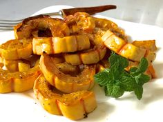 Baked Delicata Squash -- tender, creamy and so easy.