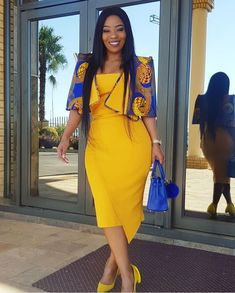 Yellow dress with blue jacket African Maxi Dresses, African Dresses For Women, African Attire, African Wear, African Women, African Style, Kente Styles, Ankara Gown Styles, Knit Vest Pattern