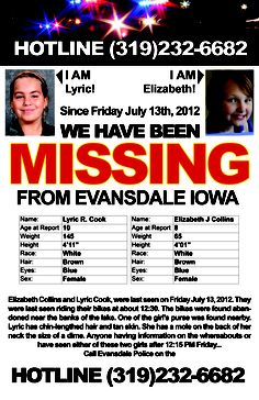 Missing children.  Please call this # if you see them