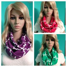 Quatrefoil infinity scarves in dark purple, red, and kelly green, by Beckysscarfshop, $15.00