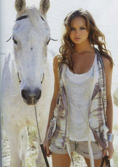 white horse :) cute outfit