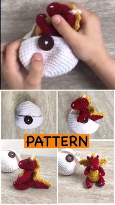 Ideas For Boys Crochet Hatching Dragon Egg- Etsy find affiliate link. Cute easter basket idea for boys. Crochet Dinosaur, Crochet Dragon, Crochet Unicorn, Easter Crochet, Cute Crochet, Crochet Baby, Crochet Patterns Amigurumi, Crochet Dolls, Knitting Patterns