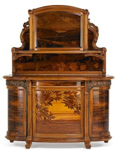 French Fine Marquetry Sideboard by Emile Galle, 1900 Belle Epoque, Unique Furniture, Vintage Furniture, Design Art Nouveau, Art Nouveau Furniture, Art Decor, Decoration, French Art, Art Deco Fashion