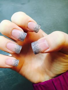 Glitter mixed with acry!ic.  Silver tips