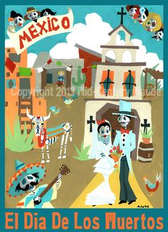 Dia De Los Muertos Painting Day of the Dead Art Print Bride and Groom 8 x 10