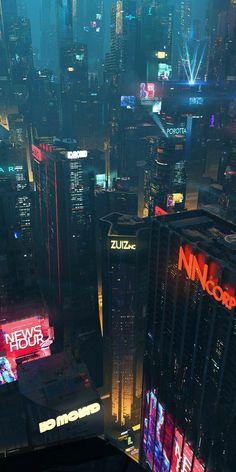 Willian Gibson s cityscape. Arte Cyberpunk, Cyberpunk Aesthetic, Cyberpunk City, City Aesthetic, Futuristic City, Futuristic Design, Wallpaper City, Cityscape Wallpaper, Retro Wallpaper