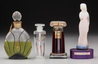 Four Assorted Glass Perfumes Circa 1940-1990. Brands including Weil & Lancome Ht. 7 in
