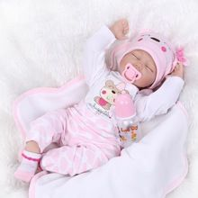 Siliconen Reborn Poppen 22 inch Slaap Silicone Reborn Poppen Pasgeboren Babies Levensechte Vinyl 55 cm Speelgoed Voor Meisjes Gift Brinquedos(China (Mainland))