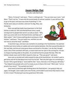 This Reading Comprehension Worksheet - Jason Helps Out is for teaching reading comprehension. Use this reading comprehension story to teach reading comprehension. Reading Comprehension Worksheets, Reading Passages, Reading Strategies, Reading Skills, Teaching Reading, English Reading, English Writing Skills, English Vocabulary, First Grade Worksheets