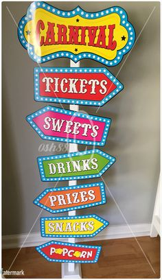 DIY Carnival Sign using wood from Lowe's & Carnival sign pack from Hobby Lobby ($2.99) #Carnival #CarnivalBirthday #CarnivalSign