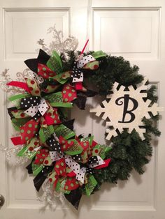 Christmas Wreath  Snowflake with Initial by TheHolidayBowtique, $130.00