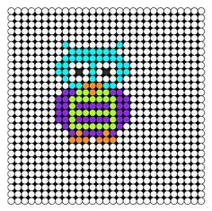 Mr Owl Perler Bead Pattern | Bead Sprites | Animals Fuse Bead Patterns