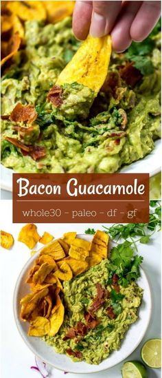A simple guacamole recipe is a summertime necessity. This Bacon Guac Recipe is easy, flavorful and a guaranteed crowd pleaser! Use this guacamole as a dip, spread or topping. This is a Paleo compliant recipe, gluten free and dairy free. Dairy Free Recipes, Paleo Recipes, Mexican Food Recipes, Real Food Recipes, Dip Recipes, Delicious Recipes, Easy Recipes, Healthy Appetizers, Appetizer Recipes