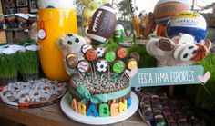Festa tema Esportes   Macetes de Mãe Sports Birthday, Boy Birthday, Birthday Cake, Birthday Parties, Birthday Ideas, Soccer Party, Sports Party, Peppa Pig, Party Ideas