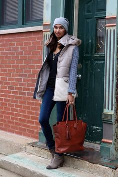A super comfy yet stylish outfit by @shaheenkhan featuring cozy grey parka. | Lookbook Store OOTD #LBSDaily