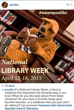 4/13/15 – Post your library photo to celebrate National Library Week. Where's your favorite Penn State Libraries spot? #wearepsulibs #PSUlibs