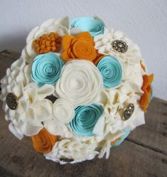 Gold, Aqua/Light Teal, and Antique White Felt and Paper Flower Alternative Wedding Bouquet - Centerpiece