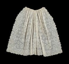 Long apron of two widths of white mull  French, 18th century  France