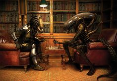 Alien and Predator play chess - DRB